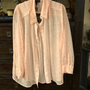 Lane Bryant 26/28 NWT soft pink button up blouse